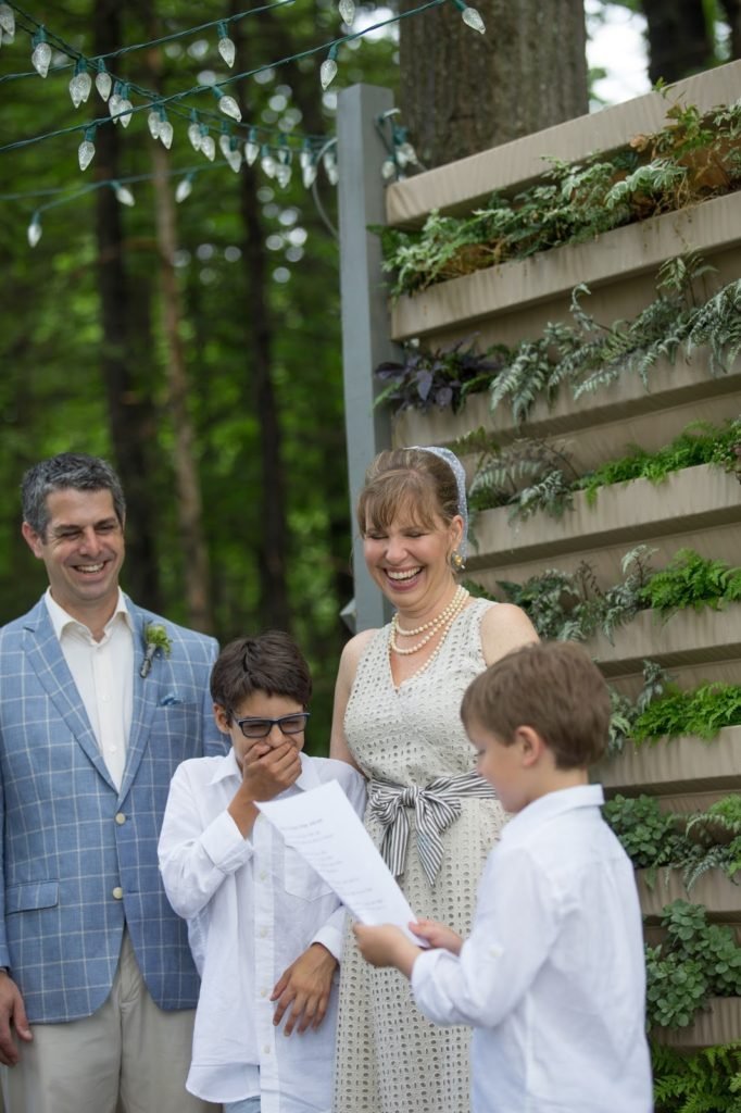 Benny delivers his Promise Ridge Address Alisa Tongg Celebrant Family Vow Renewal at The Living Wall at Promise Ridge Jeremie Barlow Photography