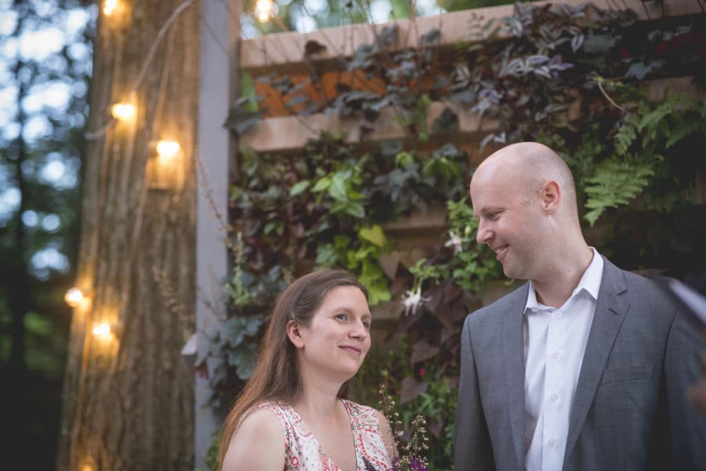 Melissa Chris Blue Hour Elopement at The Living wall at Promise Ridge Rob Yaskovic Photography