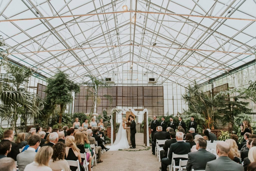 arcitectural indoor ceremony alisa tongg celebrant horticultural center wedding m2 photography