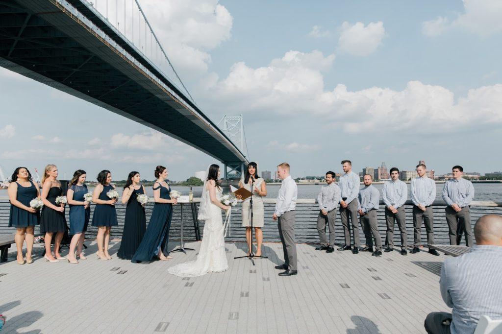 blue and grey wedding at race street pier alisa tongg celebrant race street peir philadelphia wedding emily wren photography
