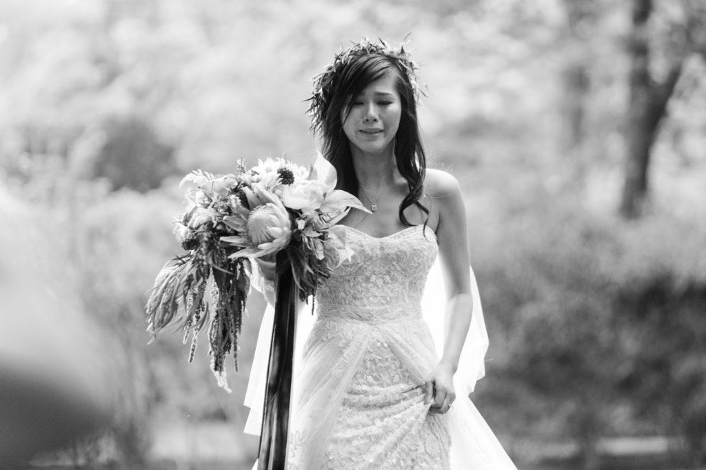 brides tearfilled emotional walk up the aisle alisa tongg celebrant emily wren photography