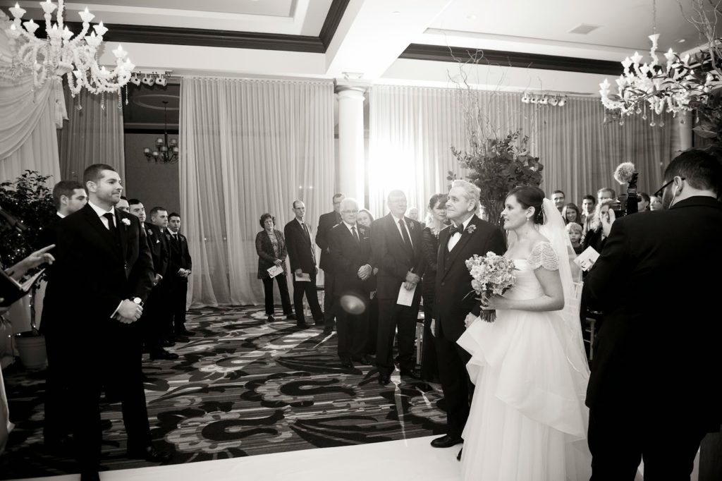 carly walks down the aisle with her father to branden vie ceremony alisa tongg celebrant heather fowler photography 1