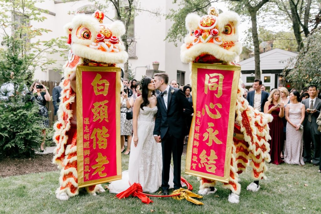 chinese lion dance with congratulatory banners alisa tongg celebrant emily wren photography