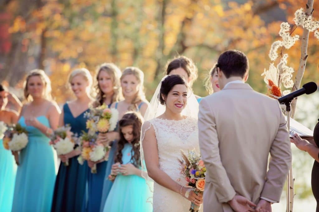 christian and bridesmaids in shades of blue woodloch wedding alisa tongg celebrant kindered souls photography