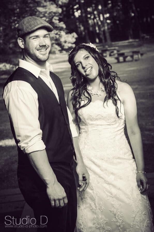 derek and renee on wedding day