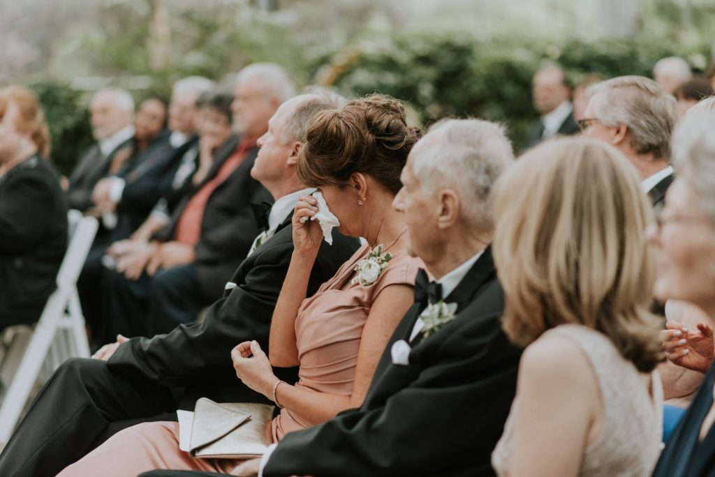 first row tears alisa tongg celebrant horticultural center wedding m2 photography