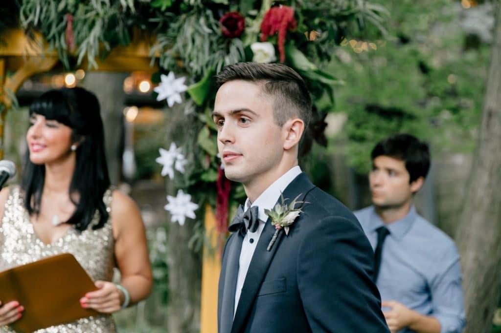 groom sees bride approach aisle alisa tongg celebrant emily wren photography