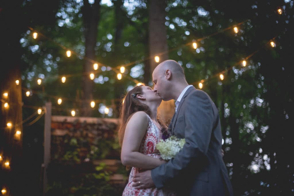 kiss Blue Hour Elopement at The Living wall at Promise Ridge Rob Yaskovic Photography