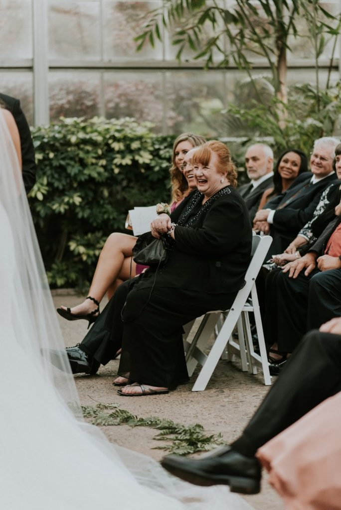 laughing mother alisa tongg celebrant horticultural center wedding m2 photography