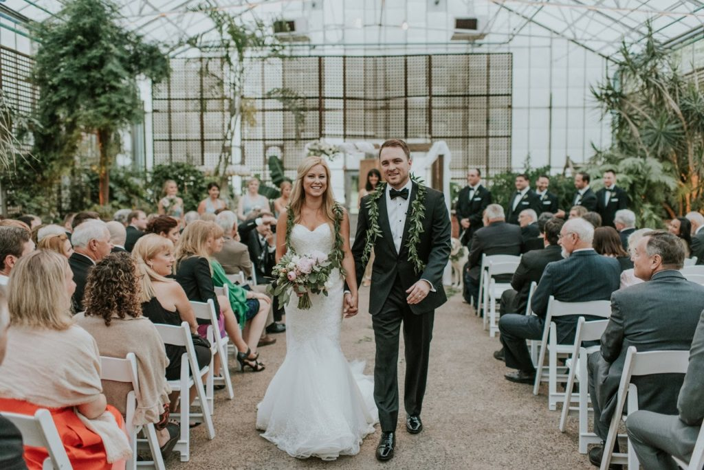 recessional at the hort alisa tongg celebrant horticultural center wedding