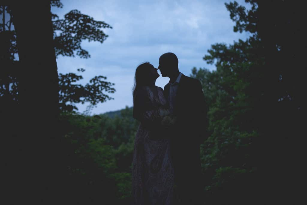 sillouette Blue Hour Elopement at The Living wall at Promise Ridge Rob Yaskovic Photography