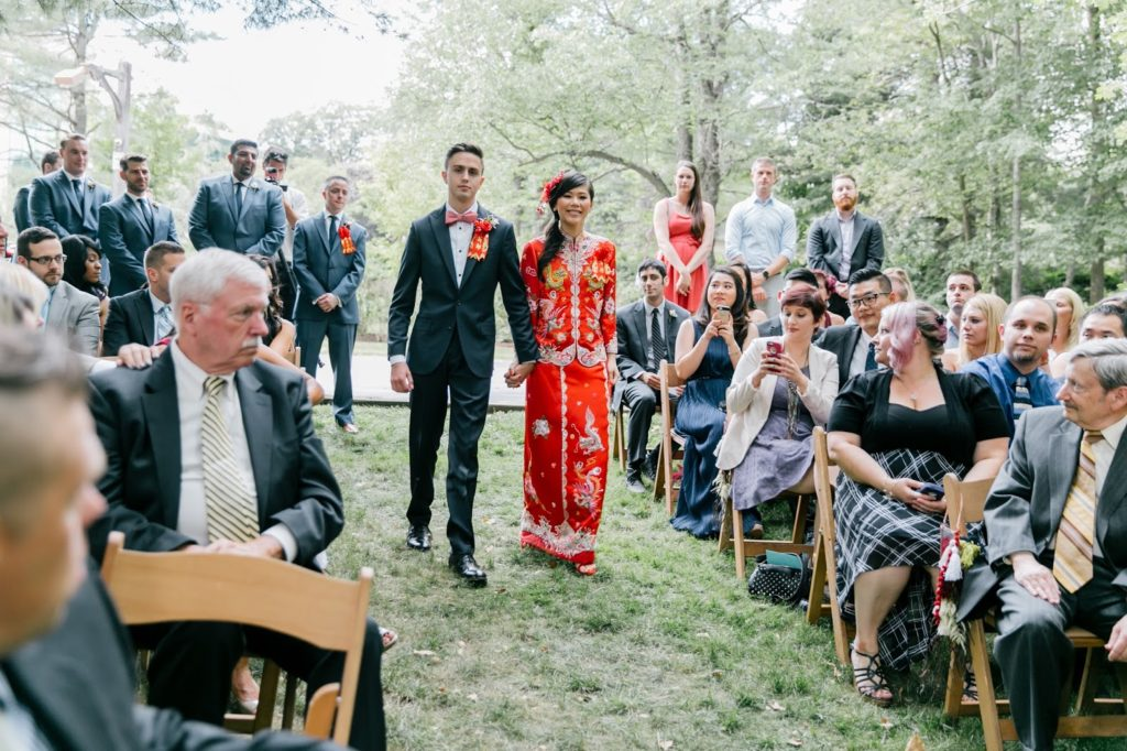 susan and tom enter together chinese tea ceremony alisa tongg celebrant emily wren photography