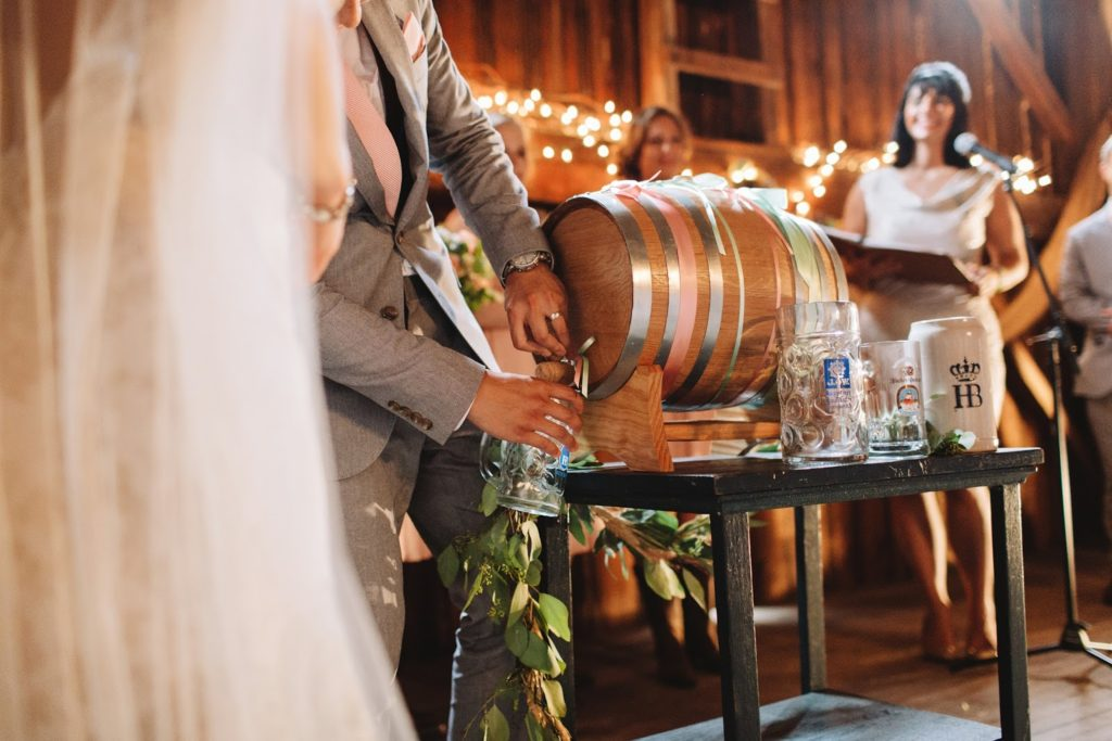 wedding ceremony keg tapping alisa tongg celebrant with love and embers photography