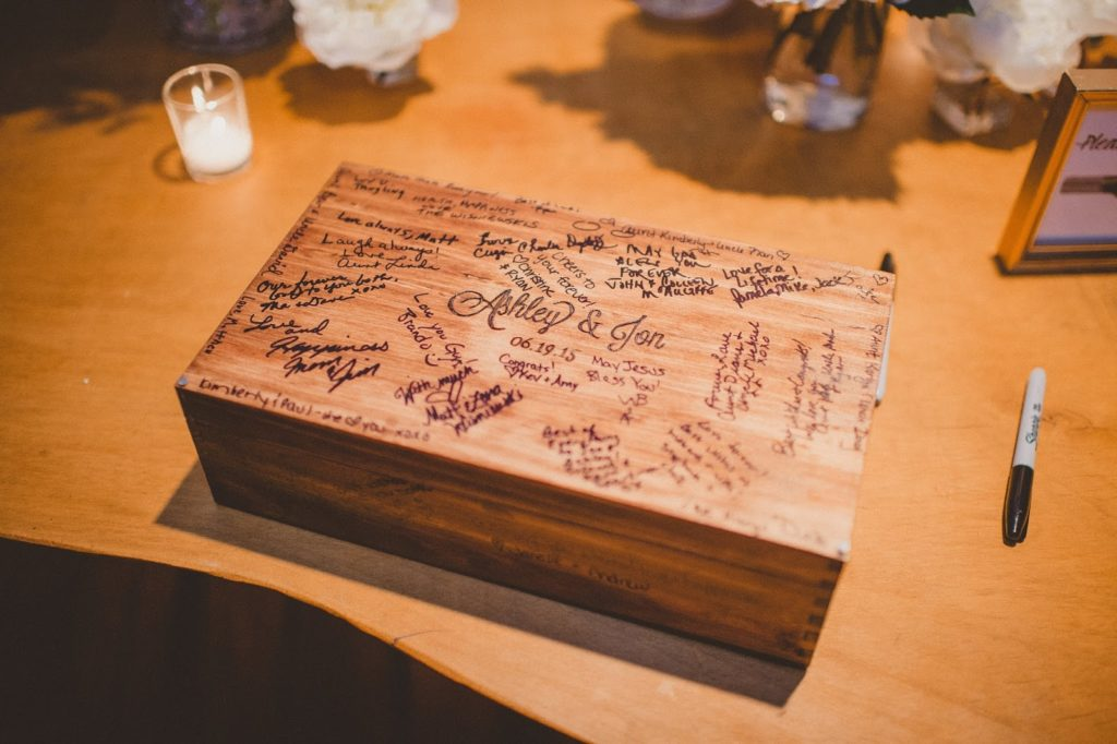 wine box time capsule as guest book alisa tongg celebrant front palmer wedding pat robinson photography